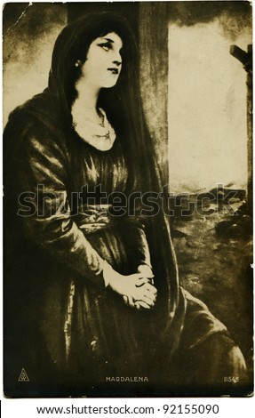 POLAND - CIRCA 1922: Reproduction of antique postcard shows Magdalena is the original version of the name Magdalene (the surname of Mary Magdalene), circa 1922