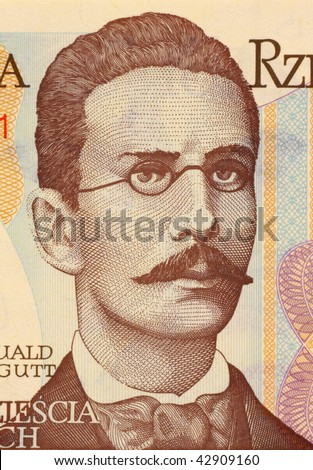 POLAND - CIRCA 1982: Romuald Traugutt on 20 Zlotych 1982 Banknote from Poland. General, war hero and commanded of the ''January uprising''. - stock photo