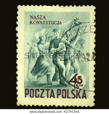 POLAND - CIRCA 1950s: A stamp printed in Poland shows Polish peoples, circa 1950s