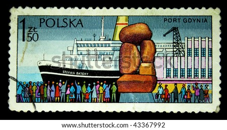 POLAND - CIRCA 1980s: A stamp printed in the Poland shows vessel Stefan Batory in  Sea port Gdansk, circa 1980s