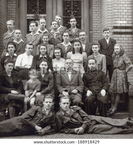 POLAND, CIRCA 1947: Students pose to photo after final examinations in Lubsko school, circa 1947