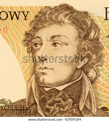 POLAND – CIRCA 1988: Thaddeus Kosciusko on 500 Zlotych 1988 Banknote from Poland.  Kosciusko led the 1794 uprising against Imperial Russia and the Kingdom of Prussia.