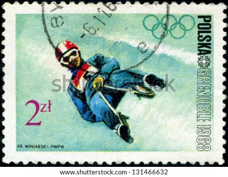 POLAND - CIRCA 1968: Winter Olympics 1968. Descent to sledge, circa 1968