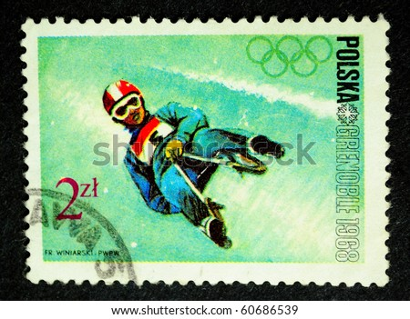 POLAND - CIRCA 1968: Winter Olympics 1968. Descent to sledge, circa 1968
