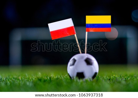 Poland - Columbia, Group H, Sunday, 24. June, Football, National Flags on green grass, white football ball on ground. #1063937318
