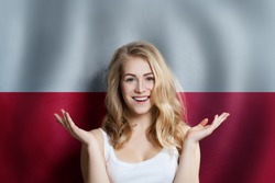 Poland concept with happy Surprised cute girl with Polish flag background. Travel and education concept