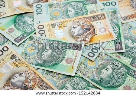 Poland currency. Close-up polish zloty 100 and 200 banknotes