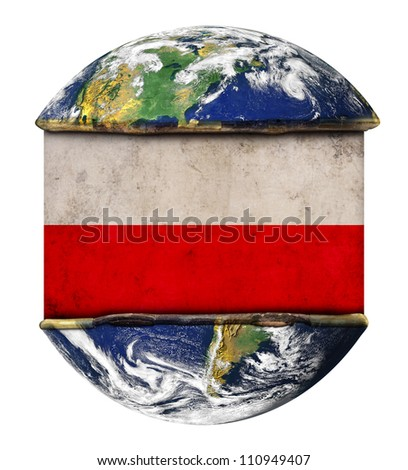 Poland earth globe flag. Elements of this image furnished by NASA.