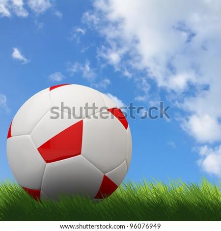 Poland flag on 3d football for Euro 2012 Group A - stock photo