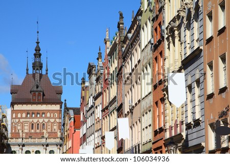 Poland - Gdansk city (also know nas Danzig) in Pomerania region. Famous apartment buildings at Dluga street.