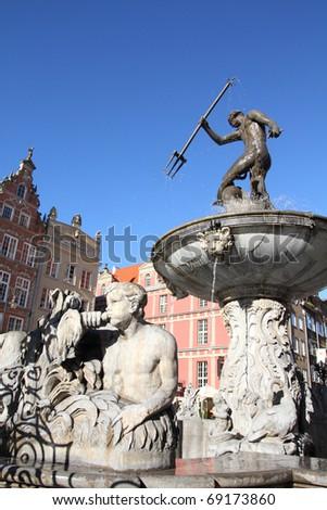 Poland - Gdansk city (also know nas Danzig) in Pomerania region. Famous Neptune fountain at Dlugi Targ square.