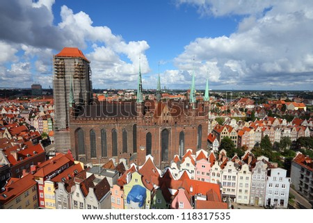 Poland - Gdansk city (also know nas Danzig) in Pomerania region. Old town aerial view with famous basilica.