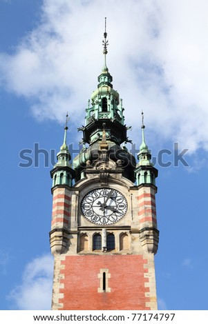 Poland - Gdansk city (also know nas Danzig) in Pomerania region. Railway station clock tower.