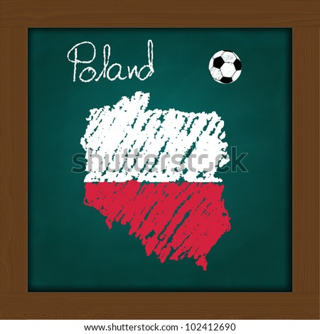 Poland map and soccer ball  on high resolution green chalkboard