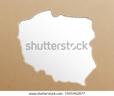 Poland map. Polish maps craft paper texture. Empty template information creative design element.
