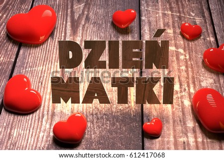 Poland Mother's Day 26 may called Dzie? Matki 3D illustration Zdjęcia stock ©
