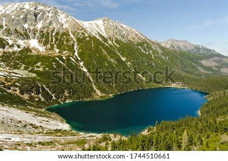 Poland Tatra Mountains (Morskie Oko). Spring view of the sea eye. May in the mountains. Spring in the mountains. Stock fotó ©
