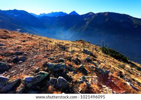 Poland, Tatra Mountains, Zakopane - Walentkowy Wierch, Cichy Wierch peaks and Walentkowa, Wierchcicha Valleys with High Tatra in background Zdjęcia stock ©