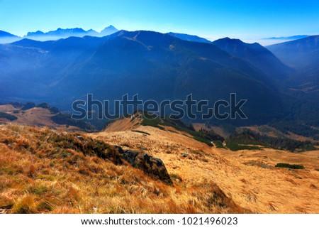 Poland, Tatra Mountains, Zakopane - Wierchcicha Valley and Cichy Wierch peak with High Tatra in background Zdjęcia stock ©