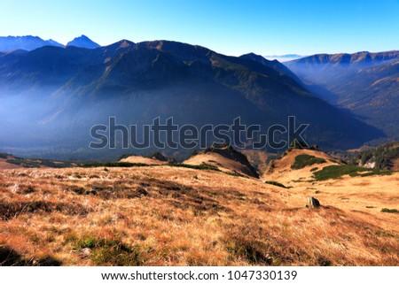 Poland, Tatra Mountains, Zakopane - Wierchcicha Valley, Cichy Wierch Zadnia Garajowa Kopa Wielka Garajowa Kopa peaks with Western Tatra mountain range panorama in background Zdjęcia stock ©
