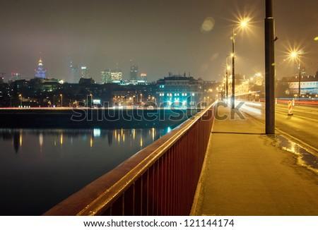 Poland, Warsaw center at night.