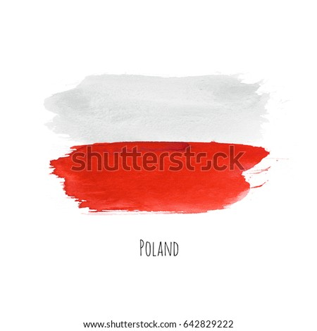 Poland watercolor national country flag icon. Hand drawn illustration with colorful dry brush stains, strokes and spots isolated on white background. Painted grunge texture for posters, banner design.