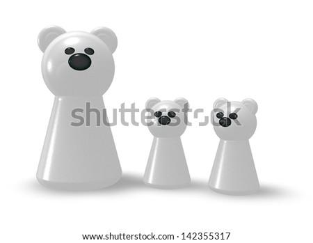 polar bear family on white background - 3d illustration