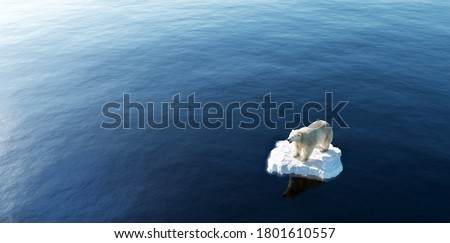 Polar bear on ice floe. Melting iceberg and global warming. Climate change. 3D illustration