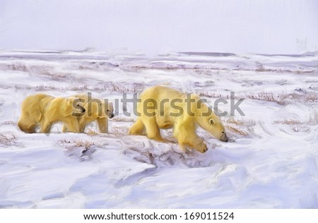 Polar bears walking across Arctic tundra
