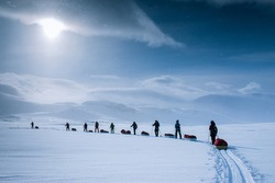 Polar expedition in Finse, Norway. Cross-country skiing across the Hardangervidda.