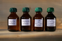 Polar protic solvents alcohols in dark glass bottles: methanol, ethanol, isopropanol, butanol. These substances are used as fuel additives to increase the octane number.