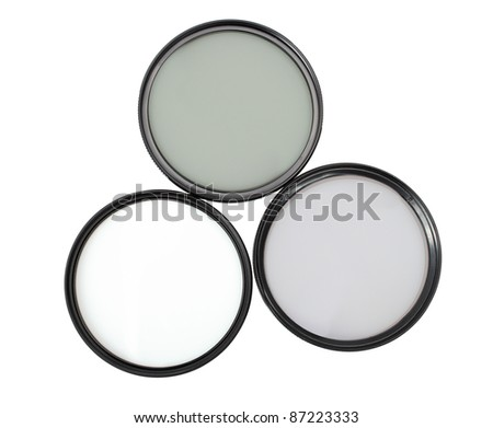 Polarizing and UV filters. Isolated with clipping path.