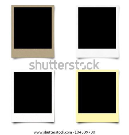Polaroid 4 blank photo frame isolated on white background