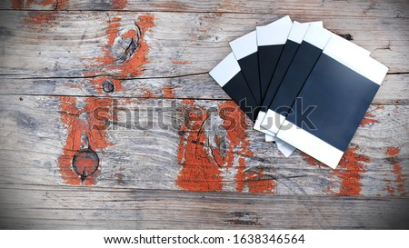 Polaroid Film on Wooden Background, Polaroid Film, Blank Space on Film, Top View, Empty Space For Text