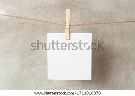 polaroid frame.Retro photo frames hanging on grey background. real photo. Stock foto ©