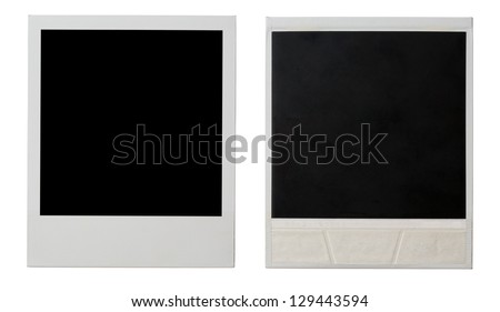 polaroid instant photo frame both sides isolated on white