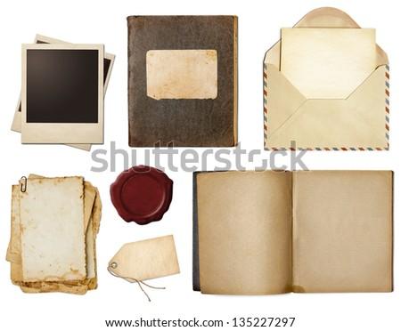 Polaroid photo, book, copybook, diary, seal vintage or retro set isolated