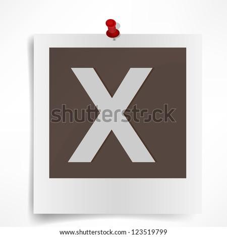 Polaroid photo frame alphabet  isolated on white background. Vector illustration
