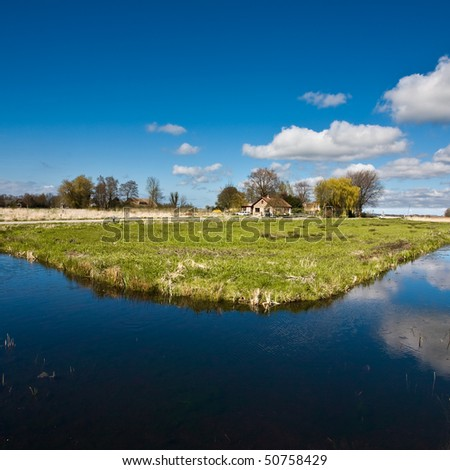Polder Scenic with blue sky