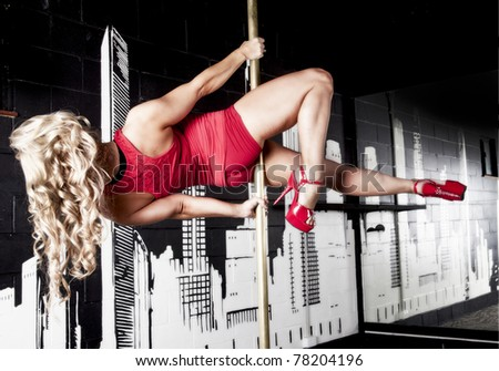 pole dancer - stock photo