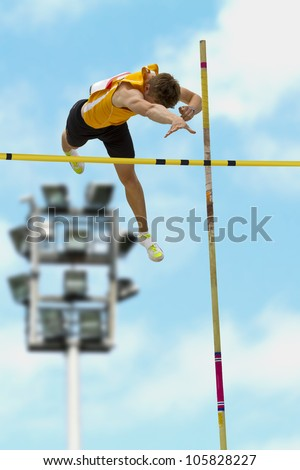 Pole vault over the bar