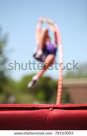 Pole Vaulter (focus on the mat)