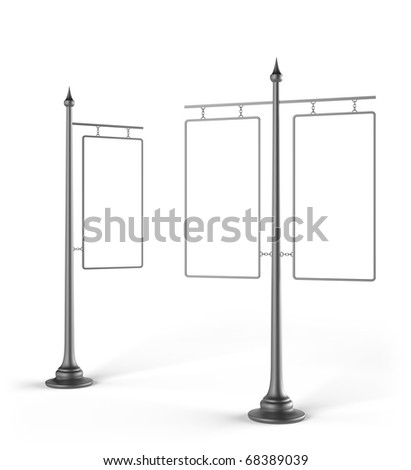 Pole with advertising. Isolated on a white