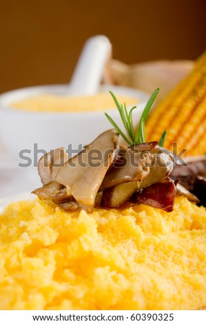 polenta  and edible mushroom