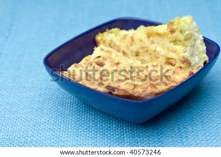 polenta baked with cheese and onion