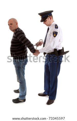 police agent is making a arrest over white background