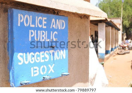 Police and public suggestion box, to encourage feedback from the public