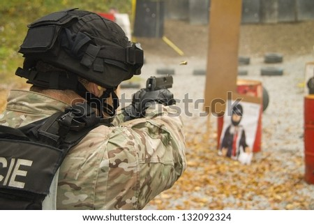 Police at the shooting range, training