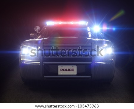 Police car cruiser ,with full array of lights and tactical lights. Part of a first responder series.
