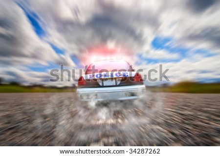 Police car in pursuit